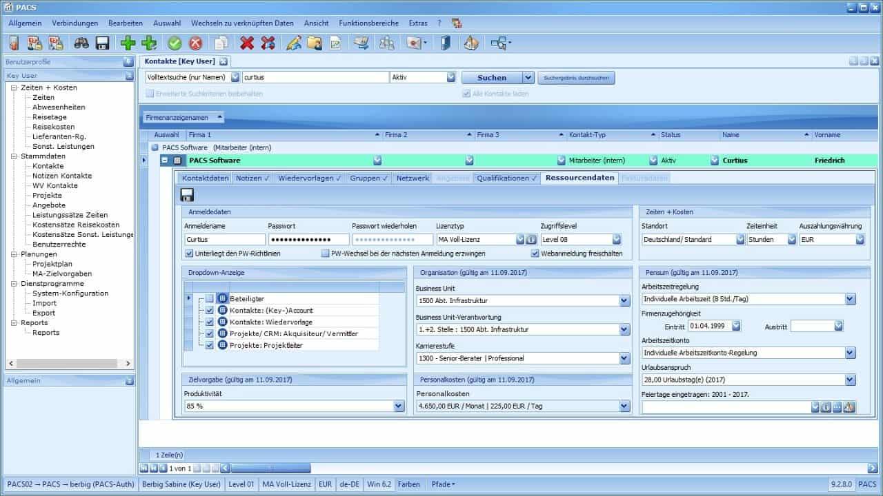 Kontaktverwaltung Benutzeroberfläche: Detailansicht (Ressourcendaten)