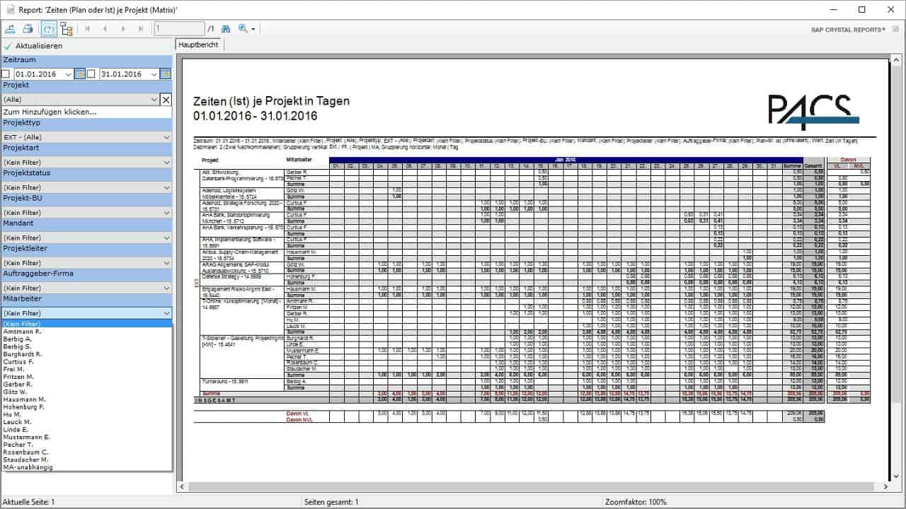 Projektcontrolling-Tool Benutzeroberfläche: Report-Ansicht mit Filter-Parametern