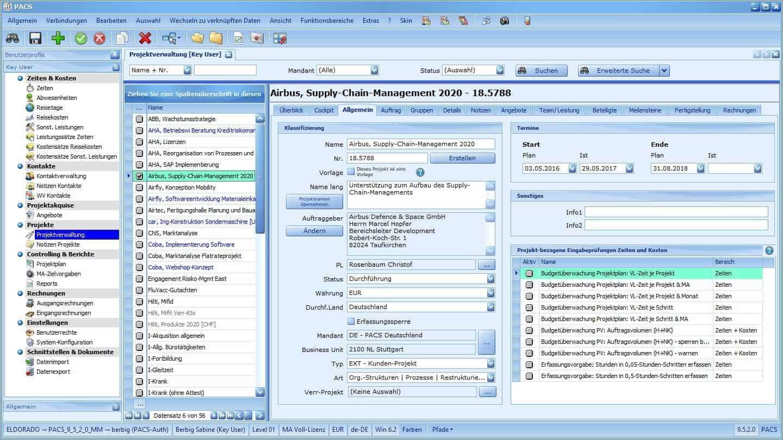 Projektverwaltung Benutzeroberfläche: Projekt-Detailansicht mit allgemeinen Projektdaten