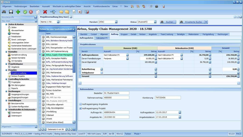 Projektverwaltung Benutzeroberfläche: Projekt-Detailansicht mit Auftragsdaten