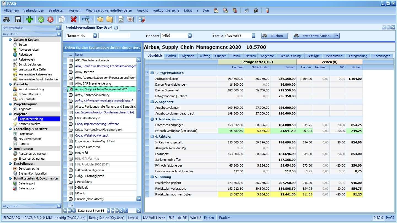 Projektverwaltung Benutzeroberfläche: Projekt-Überblick mit Daten & Kennzahlen zum Projekt