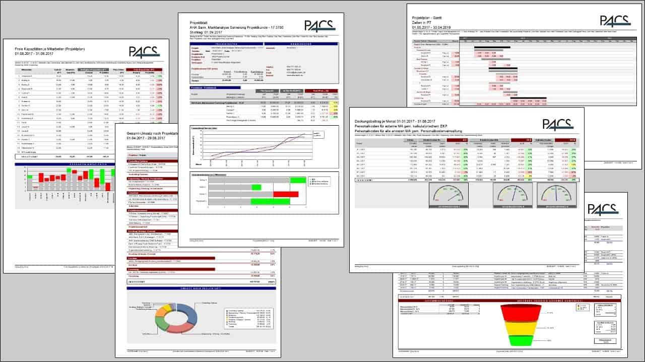 Projektcontrolling-Tool Benutzeroberfläche: Report-Übersicht