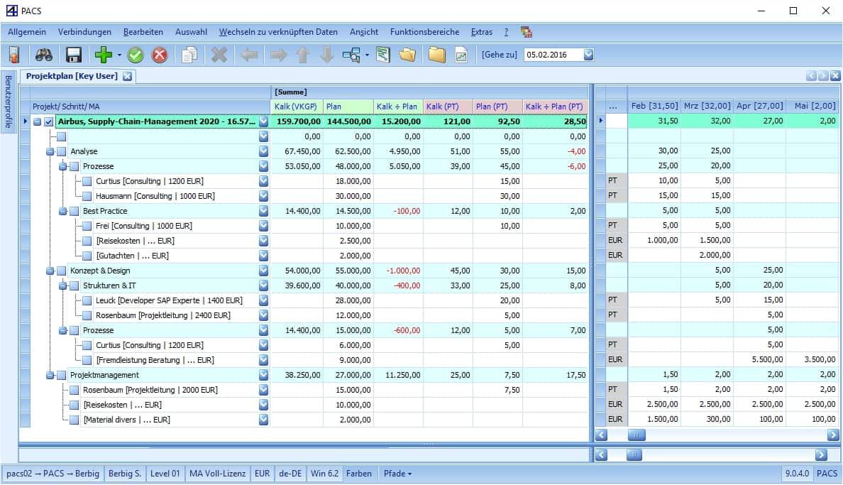 PACS Projektplanung Tool Benutzeroberfläche: Verkauf versus Plan-Budget