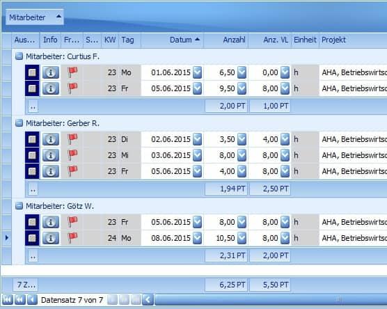 PACS Projektzeiterfassung Benutzeroberfläche: Arbeitszeiten teilweise VL