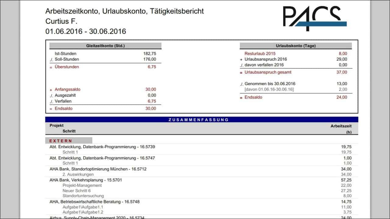 Report: Arbeitszeitkonto, Urlaubskonto mit Tätigkeitsbericht je Mitarbeiter