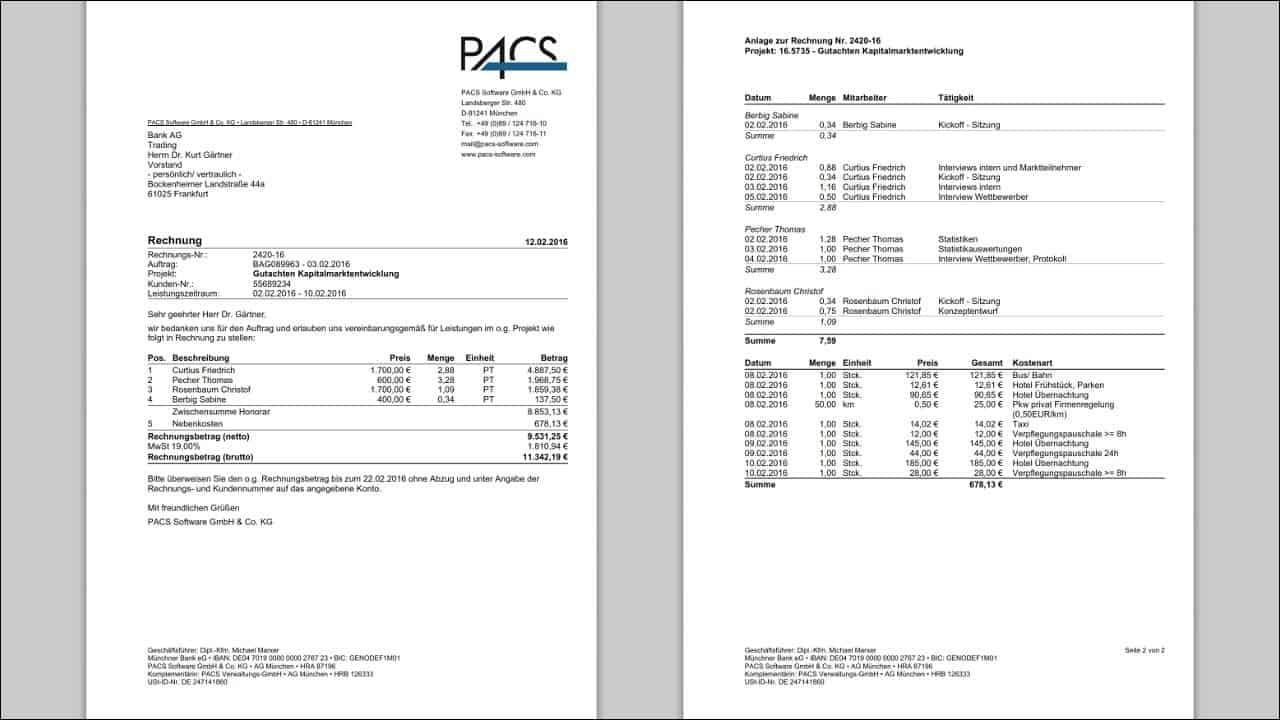 Druck auf Ihr individuelles Rechnungsformular - mit automatischer Erzeugung eines Leistungsnachweises