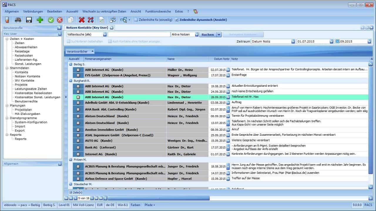 PACS Kontaktnotizen Benutzeroberfläche: Listenansicht (kontaktübergreifend)