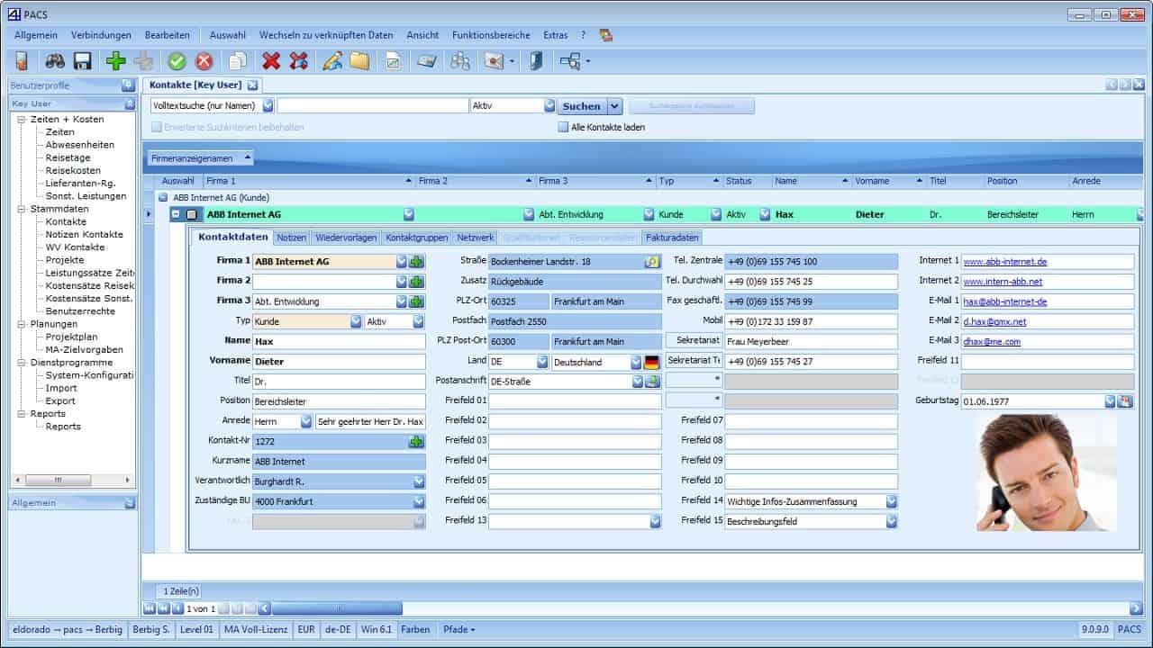 PACS Kontaktverwaltung Benutzeroberfläche: Detailansicht (Allgemein)