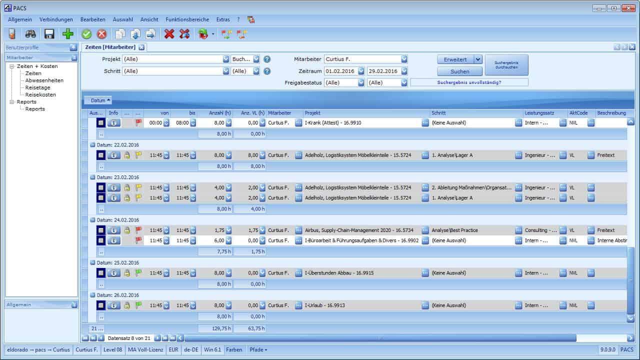 Projektzeiterfassungs-Oberfläche - bspw. gruppierbar nach Tagen