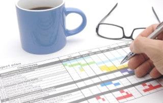 Projektplan mit Projektschritten / Projektphasen (Gantt-Diagramm)