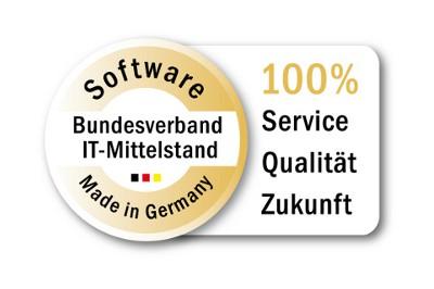 Software made in Germany - Bundesverband IT-Mittelstand - 100% Service, Qualität, Zukunft (Siegel)