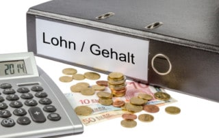 Ordner (Lohn / Gehalt), Taschenrechner, Geldscheine