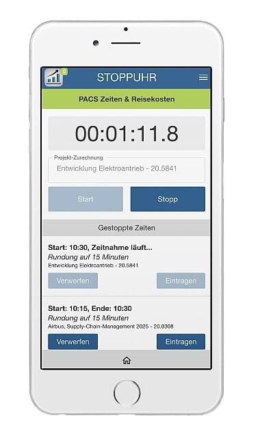 Stoppuhr-Funktion für Projektzeiten – auch ohne App-Anmeldung