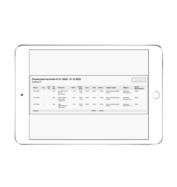 Reisekostennachweis als PDF-Export