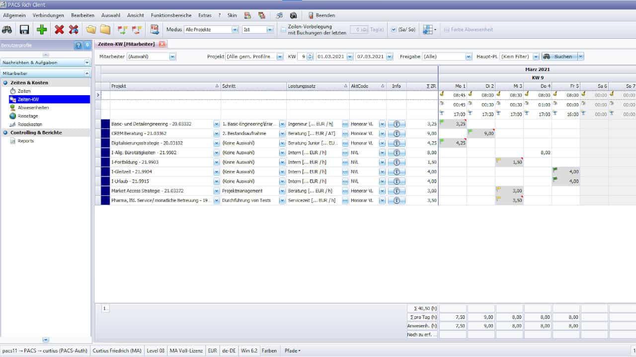 Übersichtliche Eingabe von Projektzeiten pro KW (Matrix); optional tageweiser Eintrag für Kommen-Gehen-Pause